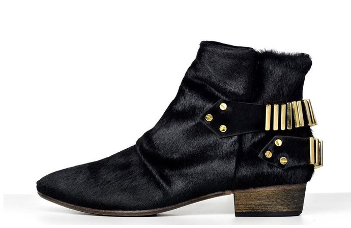 FURY LO ANKLE BOOTS PONY BLACK GOLD SIDE