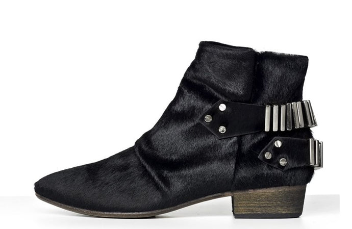FURY LO ANKLE BOOTS PONY BLACK GUNMETAL SIDE