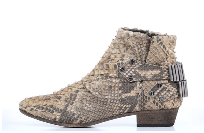 FURY LO ANKLE BOOTS PYTHON BEIGE SIDE