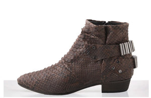 FURY LO ANKLE BOOTS PYTHON MATTE BROWN SIDE