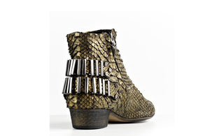 FURY LO ANKLE BOOTS PYTHON GOLD REAR