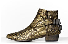 Load image into Gallery viewer, FURY LO ANKLE BOOTS PYTHON GOLD SIDE