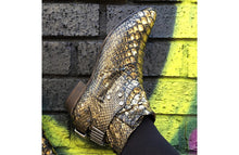 Load image into Gallery viewer, FURY LO ANKLE BOOTS PYTHON GOLD