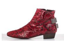 Load image into Gallery viewer, FURY LO ANKLE BOOTS PYTHON RED SIDE