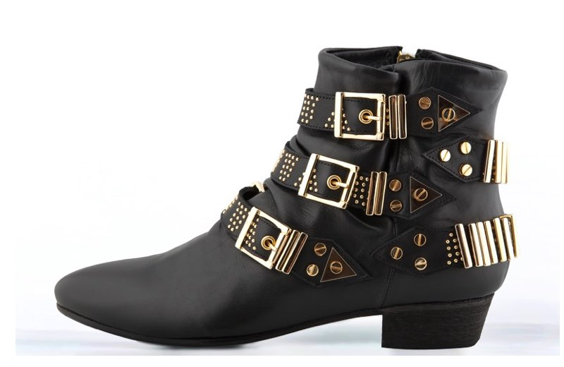 FURY LO GIG ANKLE BOOTS NAPA BLACK GOLD SIDE
