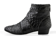 Load image into Gallery viewer, FURY SIA ANKLE BOOTS PYTHON BLACK SIDE