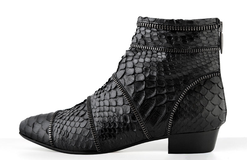 FURY SIA ANKLE BOOTS PYTHON BLACK SIDE