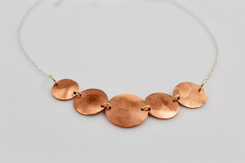 Copper Five Disc Necklace
