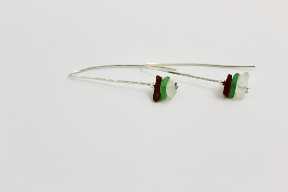 Beach Glass Pin Earrings