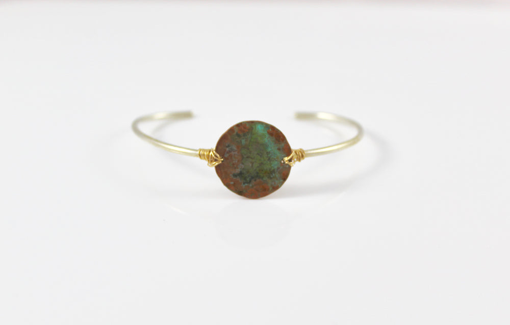 Sterling Skinny Cuff with Green Patina Copper Disc