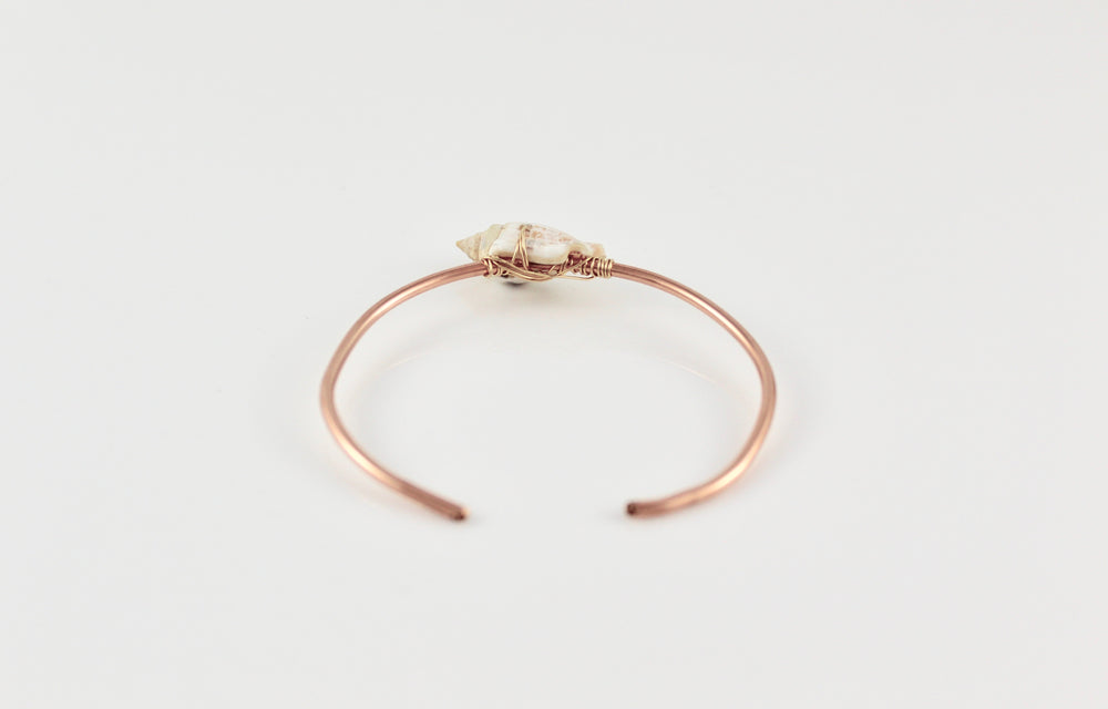 Rose Gold Fill Skinny Cuff with Shell
