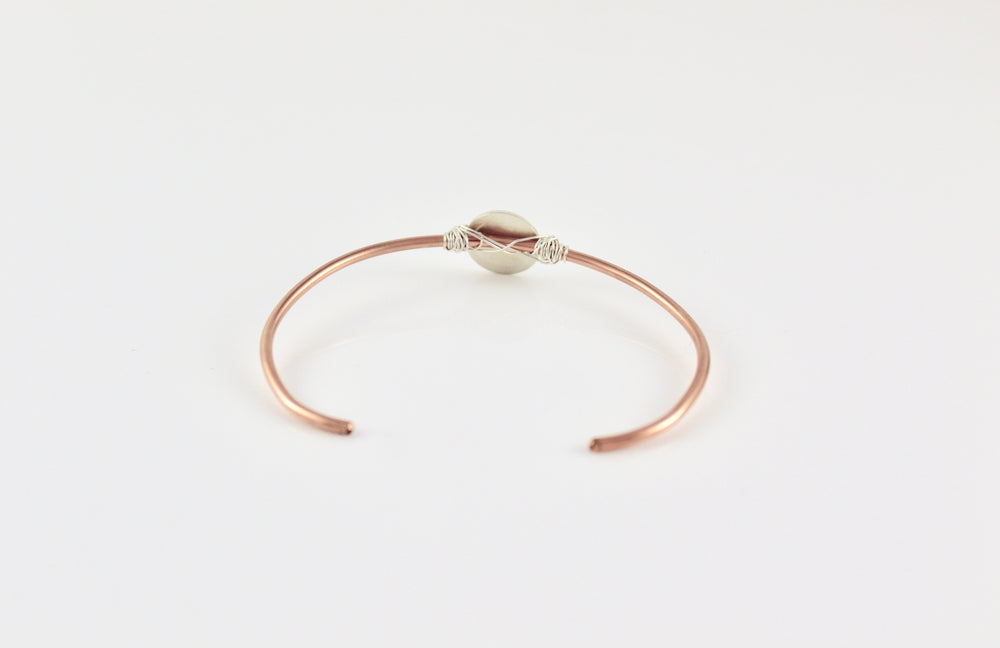 Rose Gold Fill Skinny Cuff with Sterling Disc