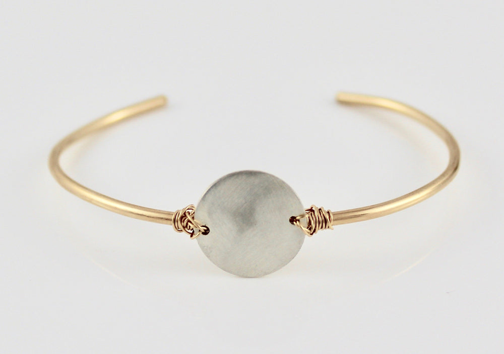14k Gold Fill Skinny Cuff with Large Silver Disc