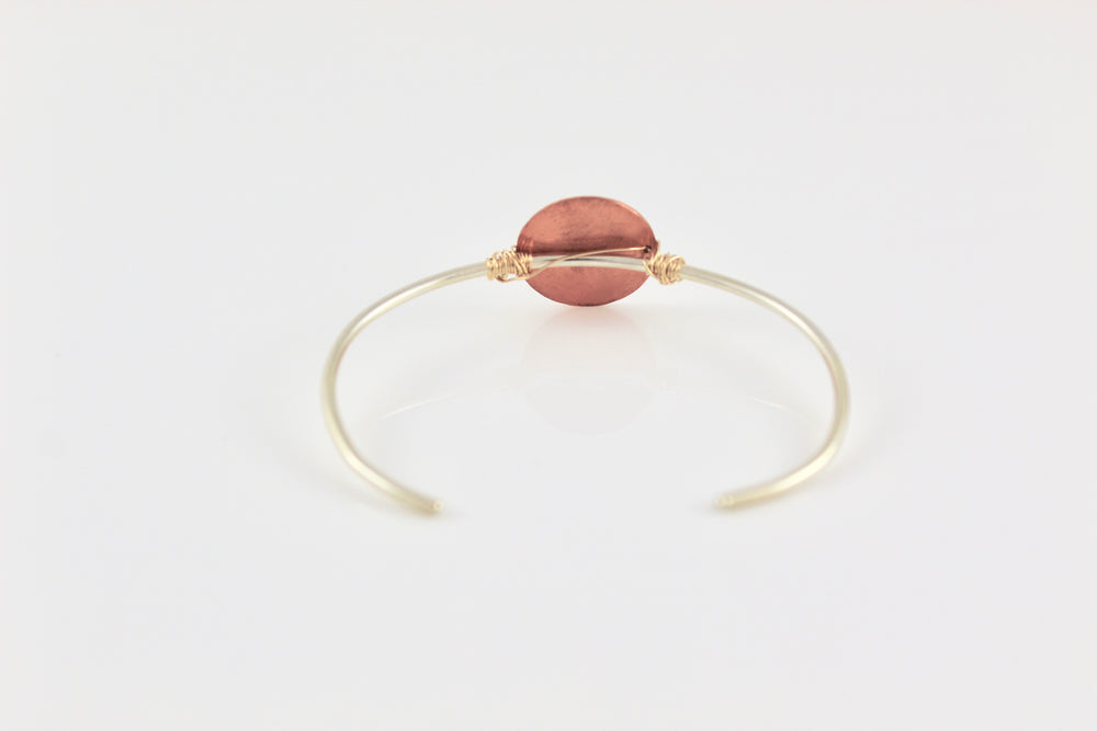 Sterling Silver Skinny Cuff with Large Hammered Copper Disc