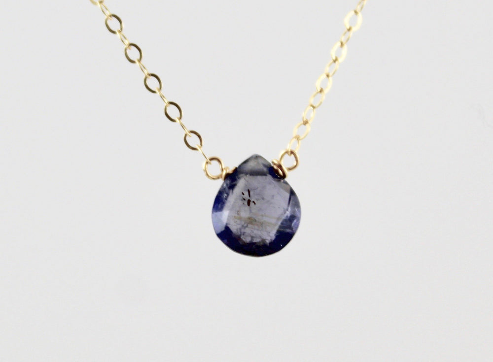 Simple Stone Necklace - Iolite