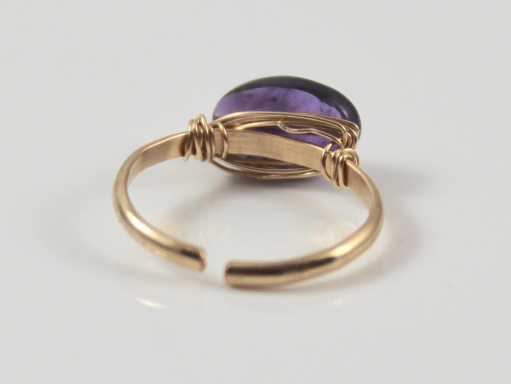 Adjustable Stone Ring - Amethyst