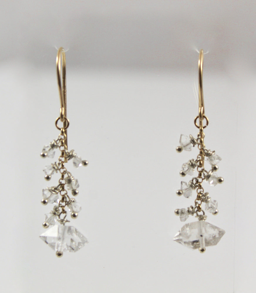 Herkimer Diamond Long Dangle Earrings