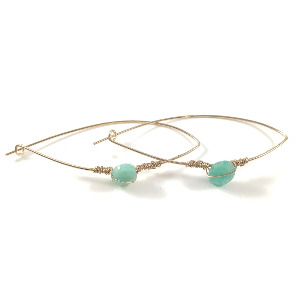 Latched Almond Earrings with Amazonite