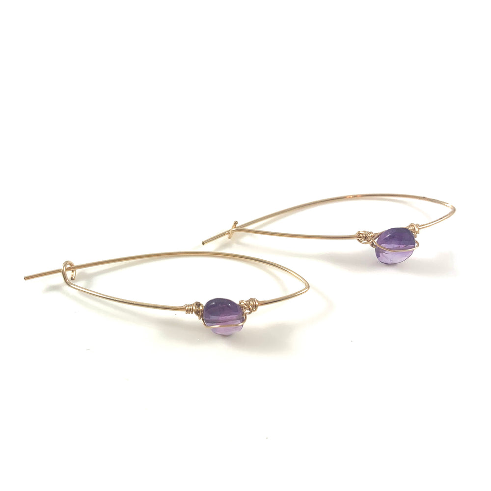 Latched Almond Earrings with Amethyst