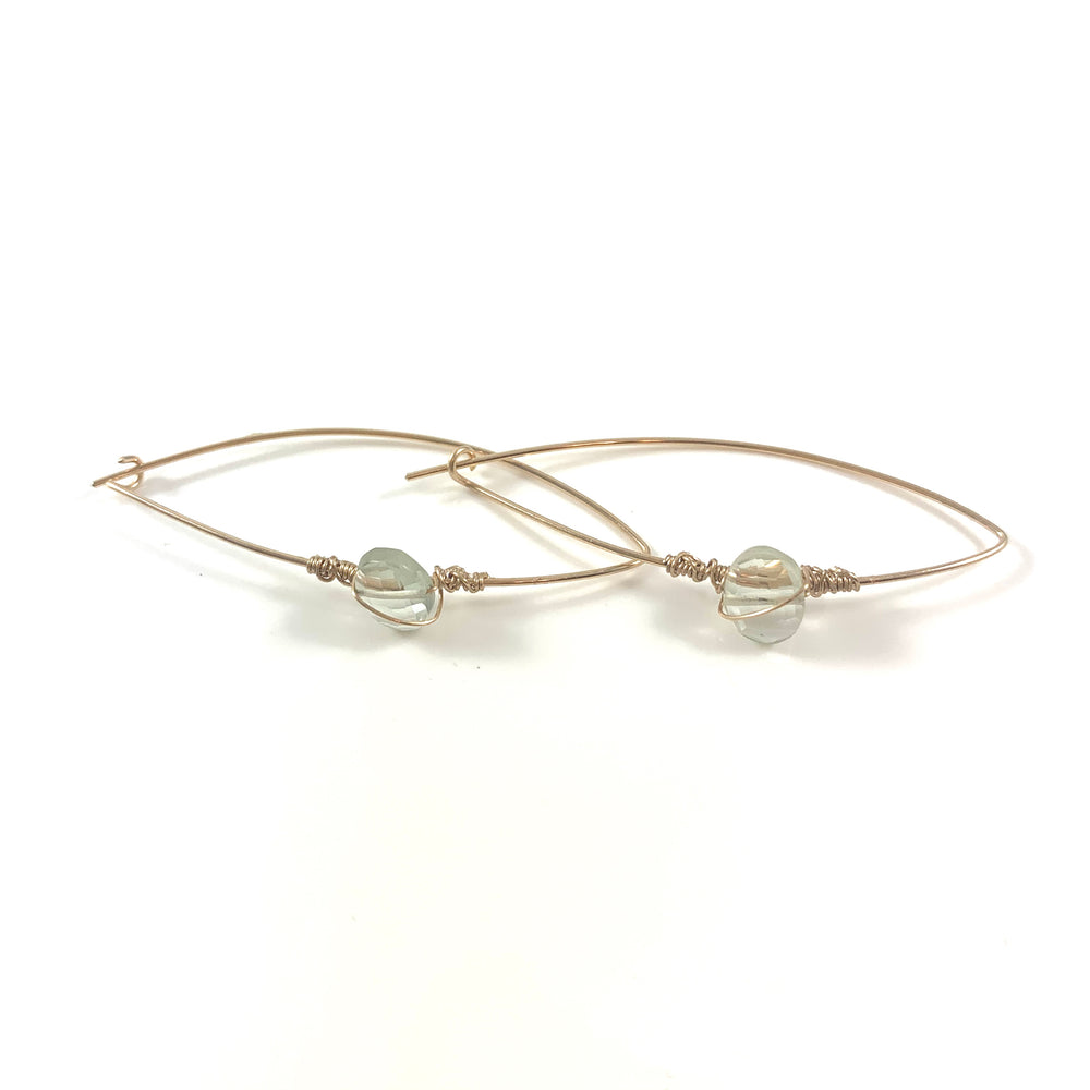 Latched Almond Earrings with Green Amethyst