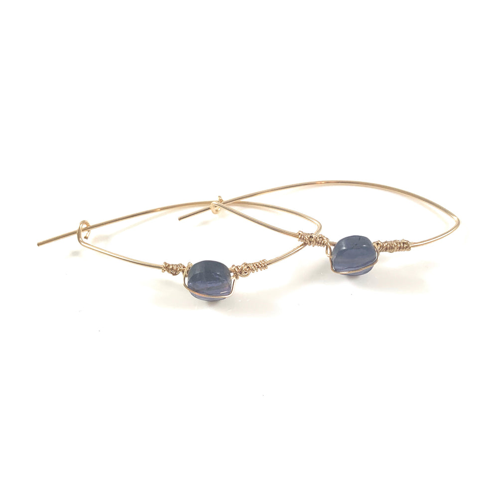 Latched Almond Earrings with Iolite