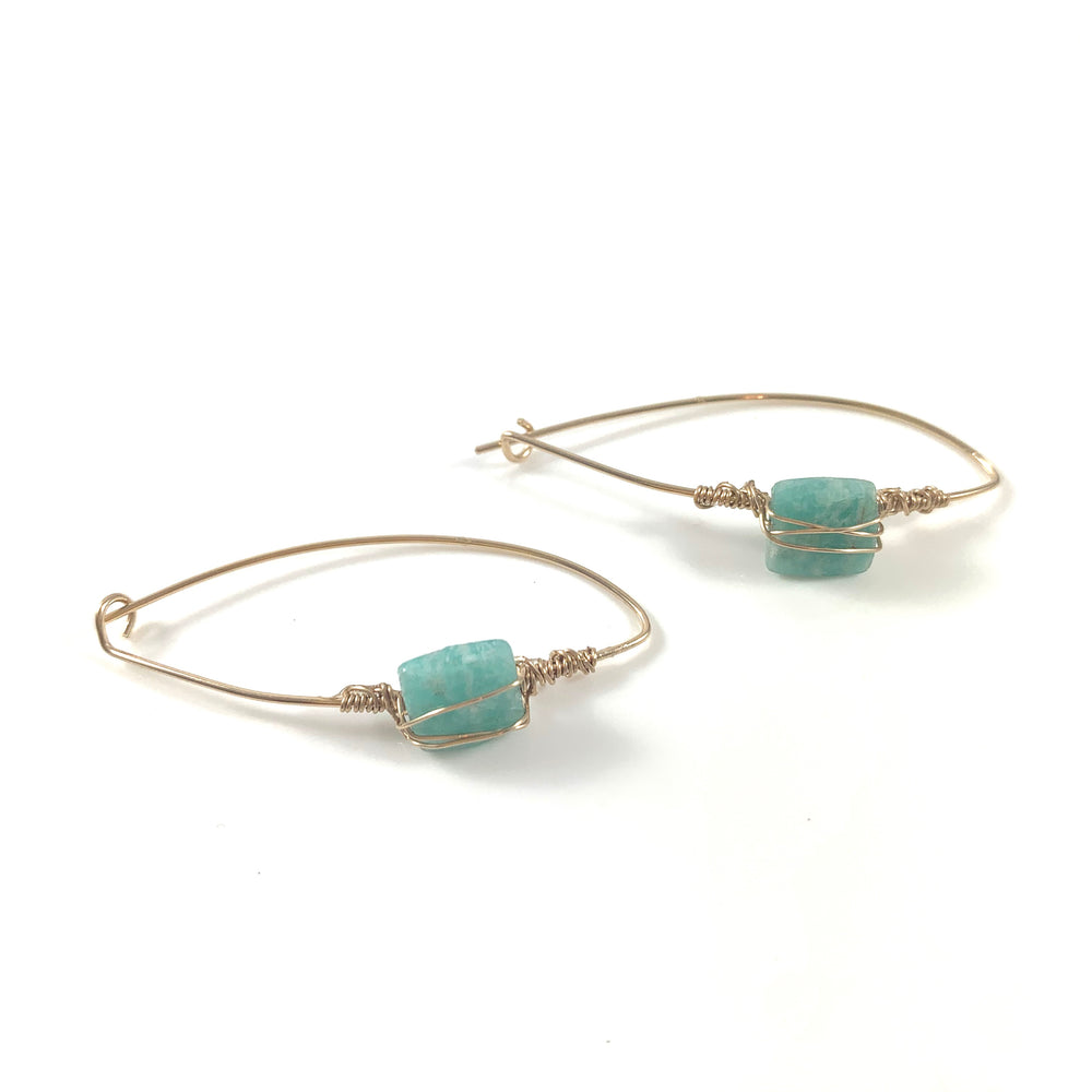 Latched Almond Earrings with Square Amazonite