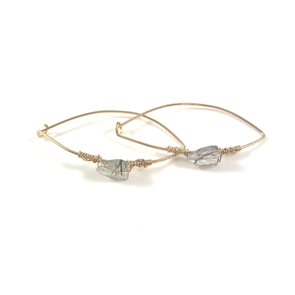 Latched Almond Earrings with Black Rutile Quartz