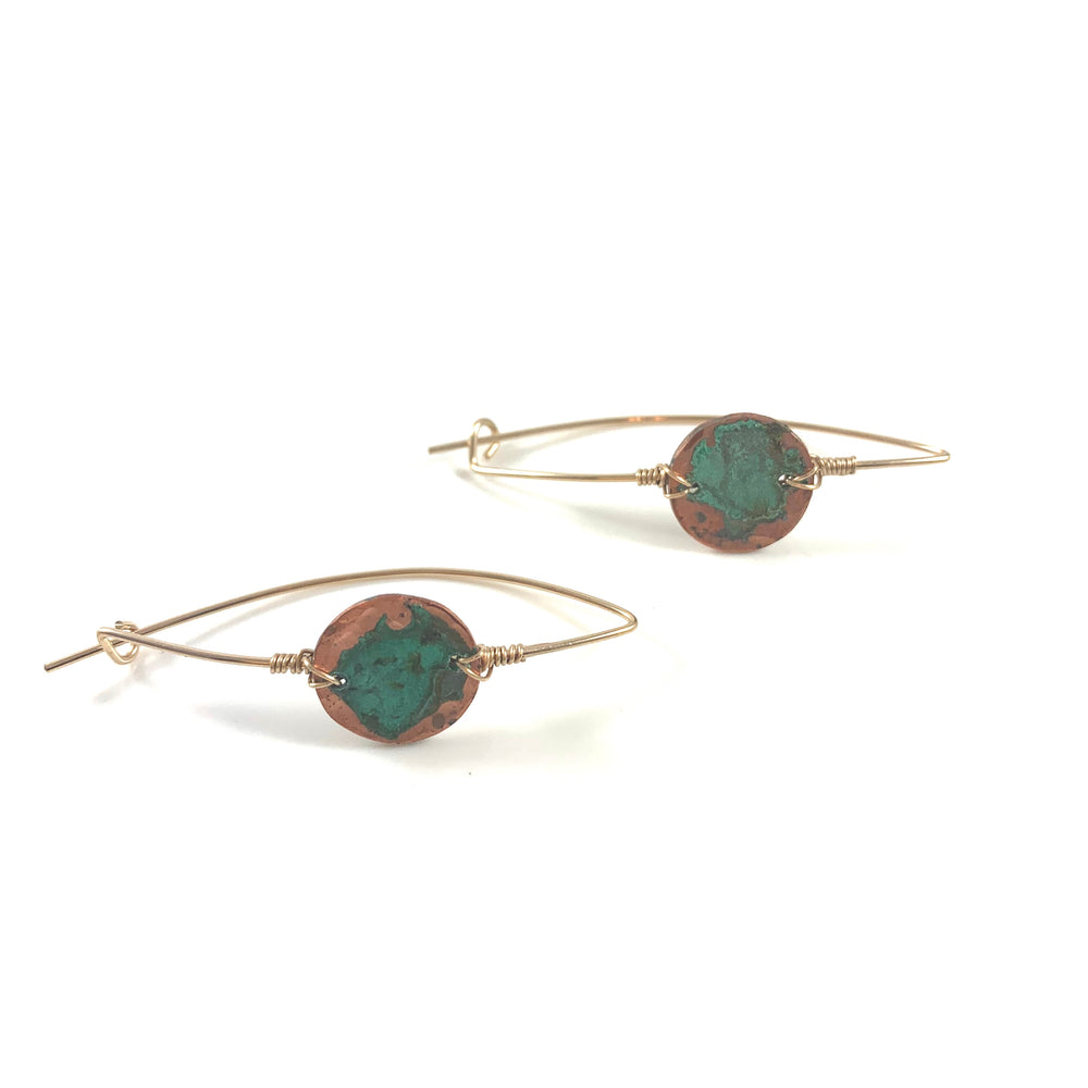 Latched Almond Earrings with Green Patina Copper