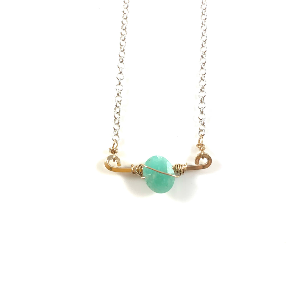 Mini Bar with Gemstone Necklace - Amazonite