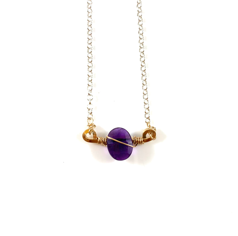 Mini Bar with Gemstone Necklace - Amethyst