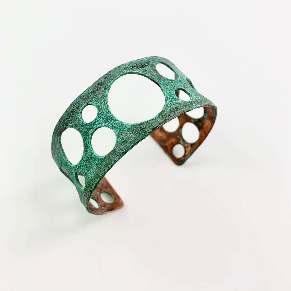 Green Patina Copper Bubble Cuff