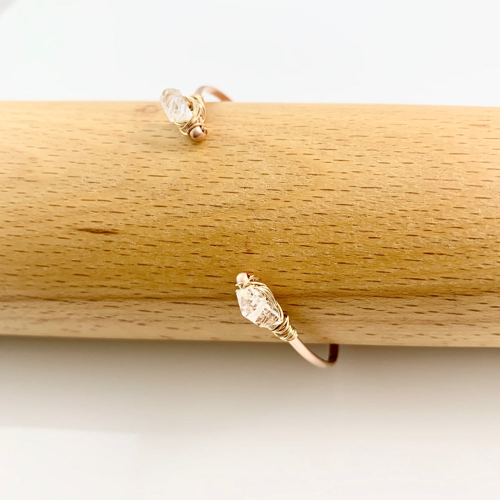 Rose Gold Fill Herkimer Diamond Open Cuff