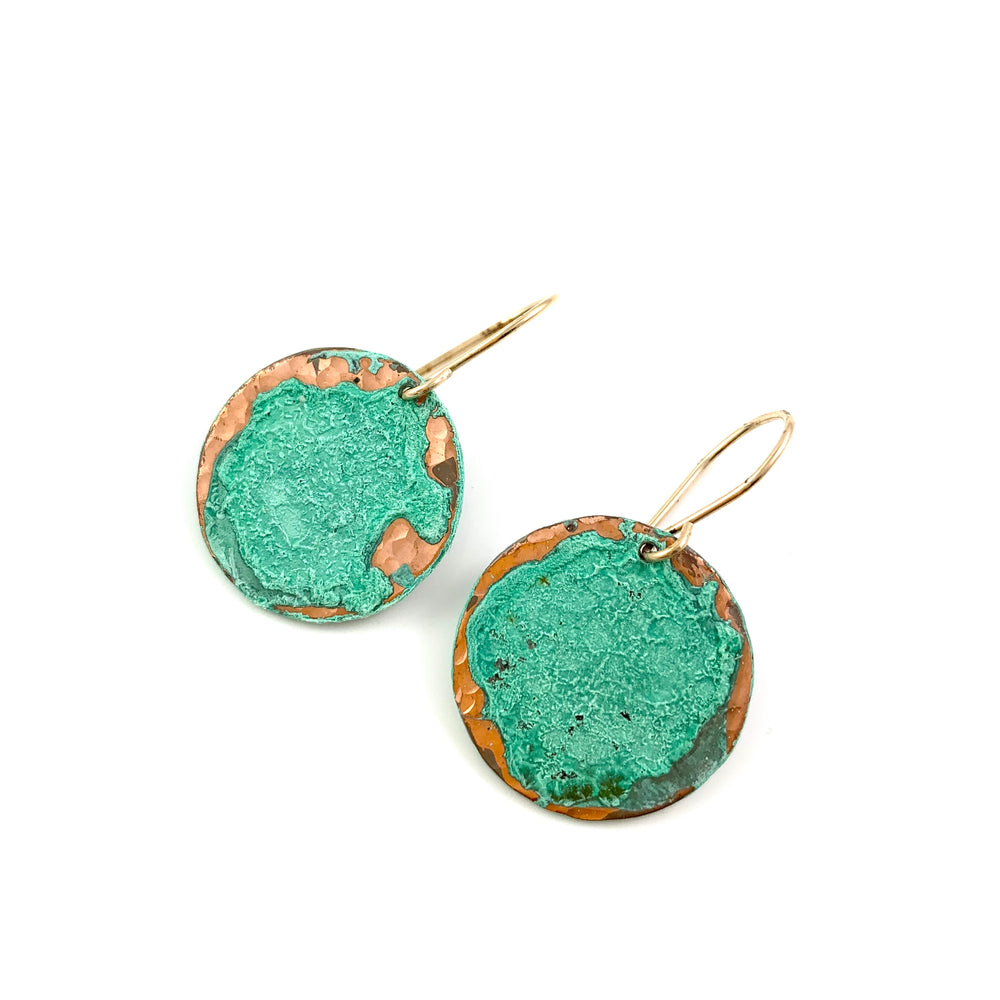 Single Large Green Patina Disc Earrings