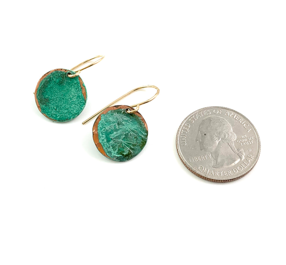 Midi Green Patina Copper Disc Earrings