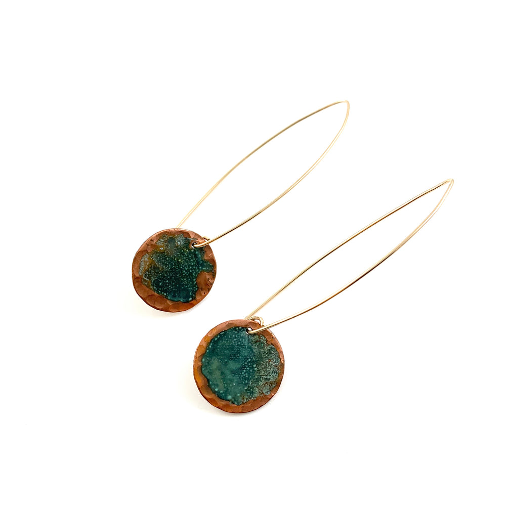Long Single Green Patina Copper Disc Earrings