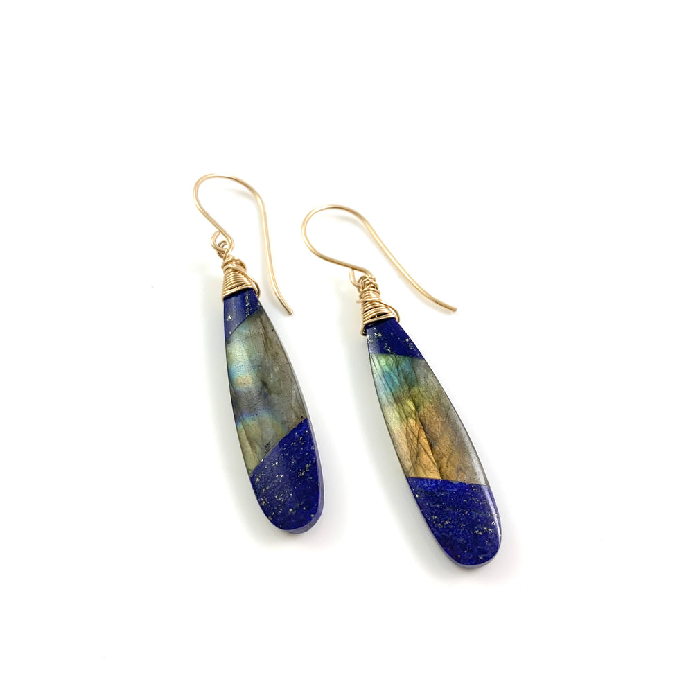 Lapis Lazuli and Labradorite Fused Stone Earrings