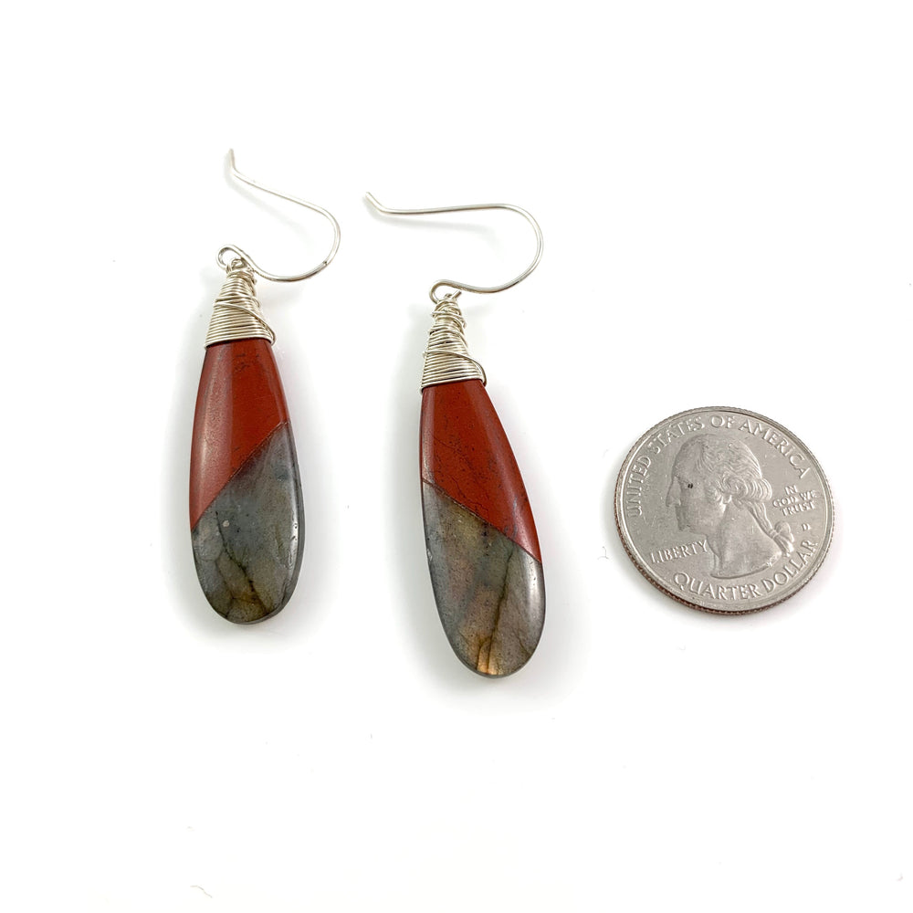 Red River Jasper and Labradorite Fused Stone Earrings
