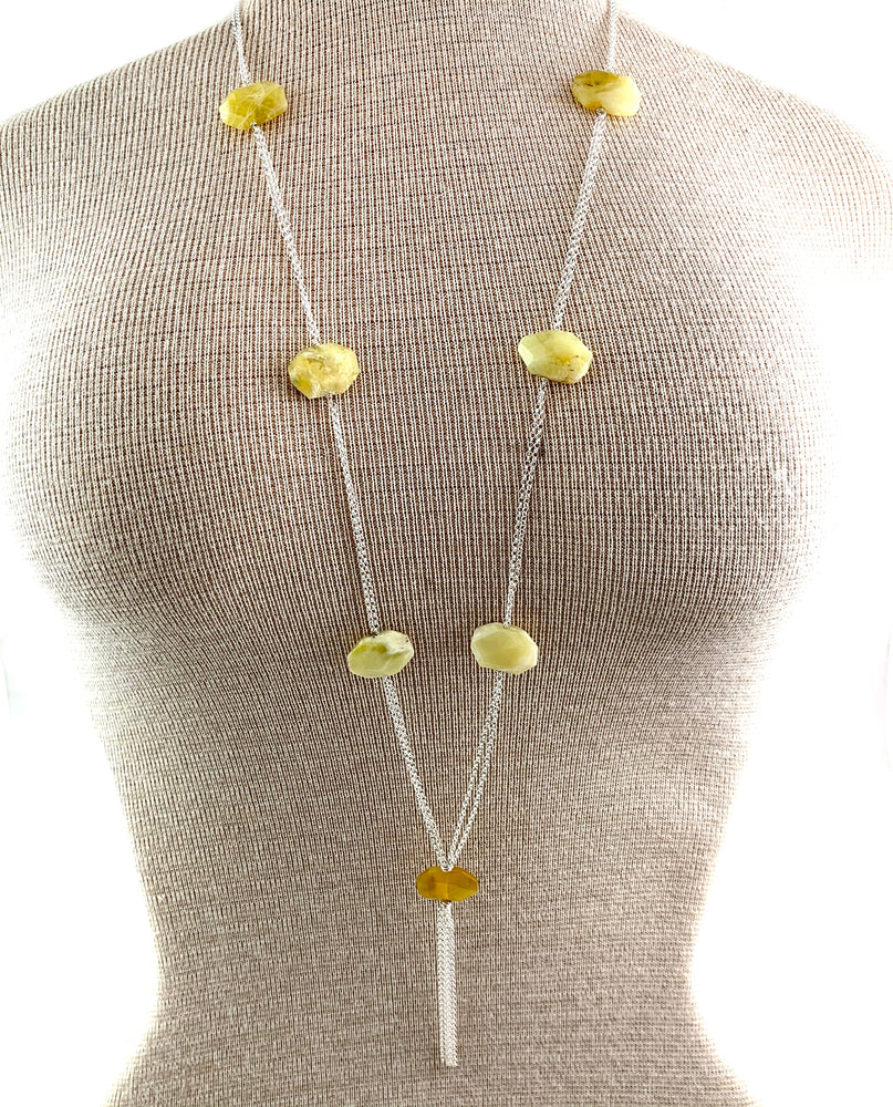 Chunky Seven Stone Yellow Opal Necklace