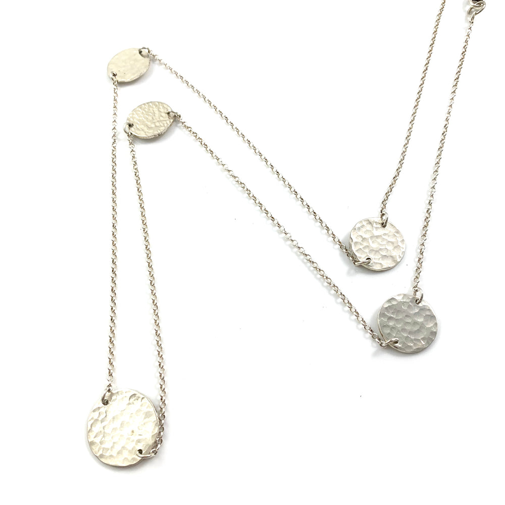 Sterling Silver Five Disc Long Necklace