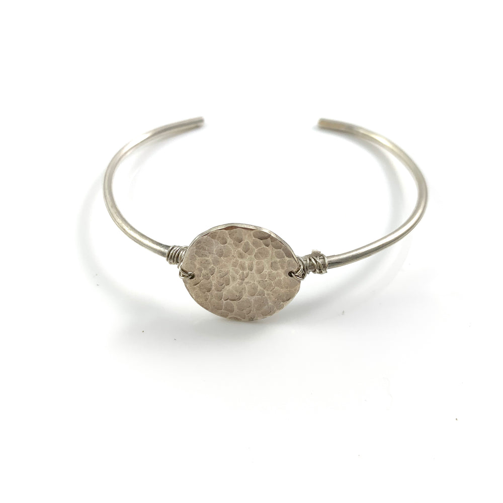 Sterling Silver Skinny Cuff with Large Silver Disc
