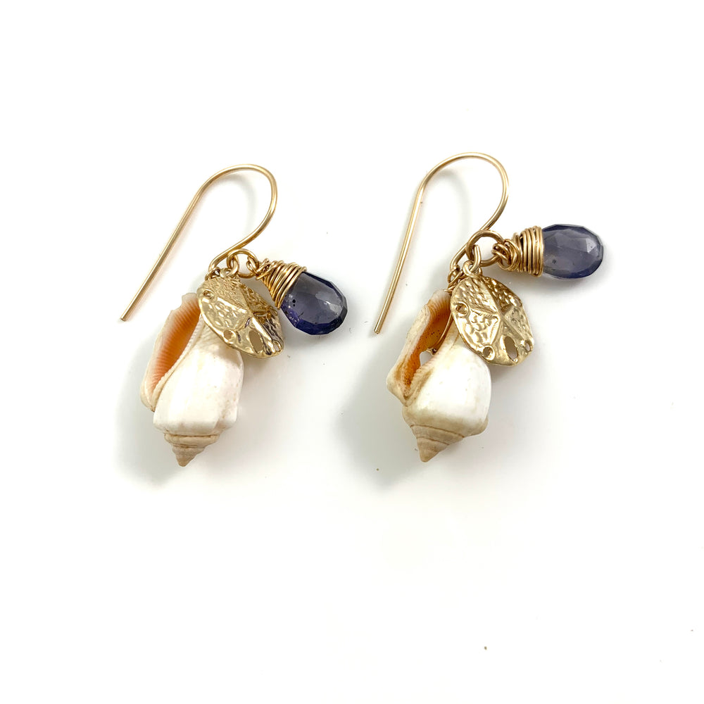 14k Gold Filled Beach Treasure Charm Earrings Sand Dollar and Iolite