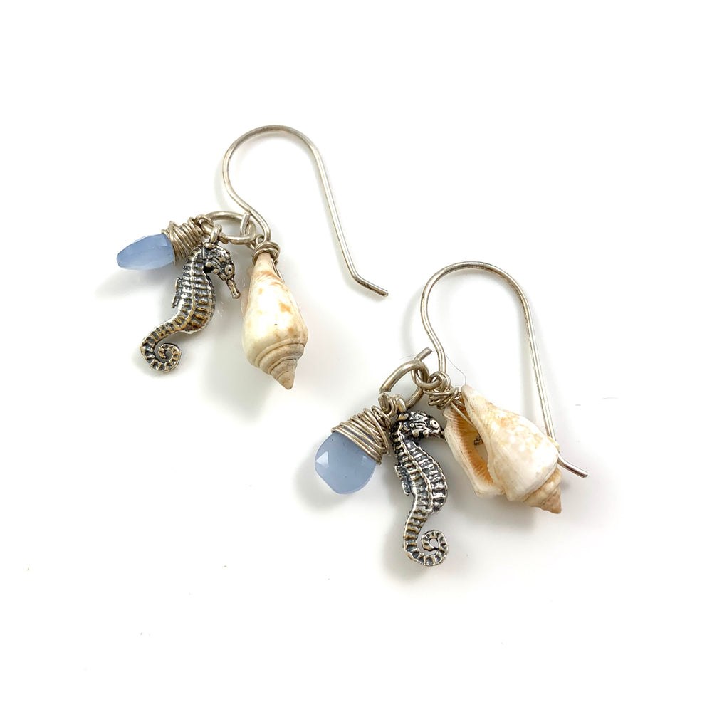 Sterling Silver Beach Treasure Seahorse Charm and Blue Chalcedony Earrings