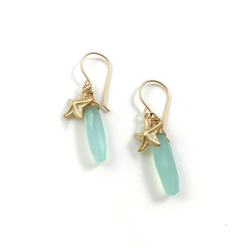 14k Gold Filled Sea Star and Aqua Chalcedony Earrings