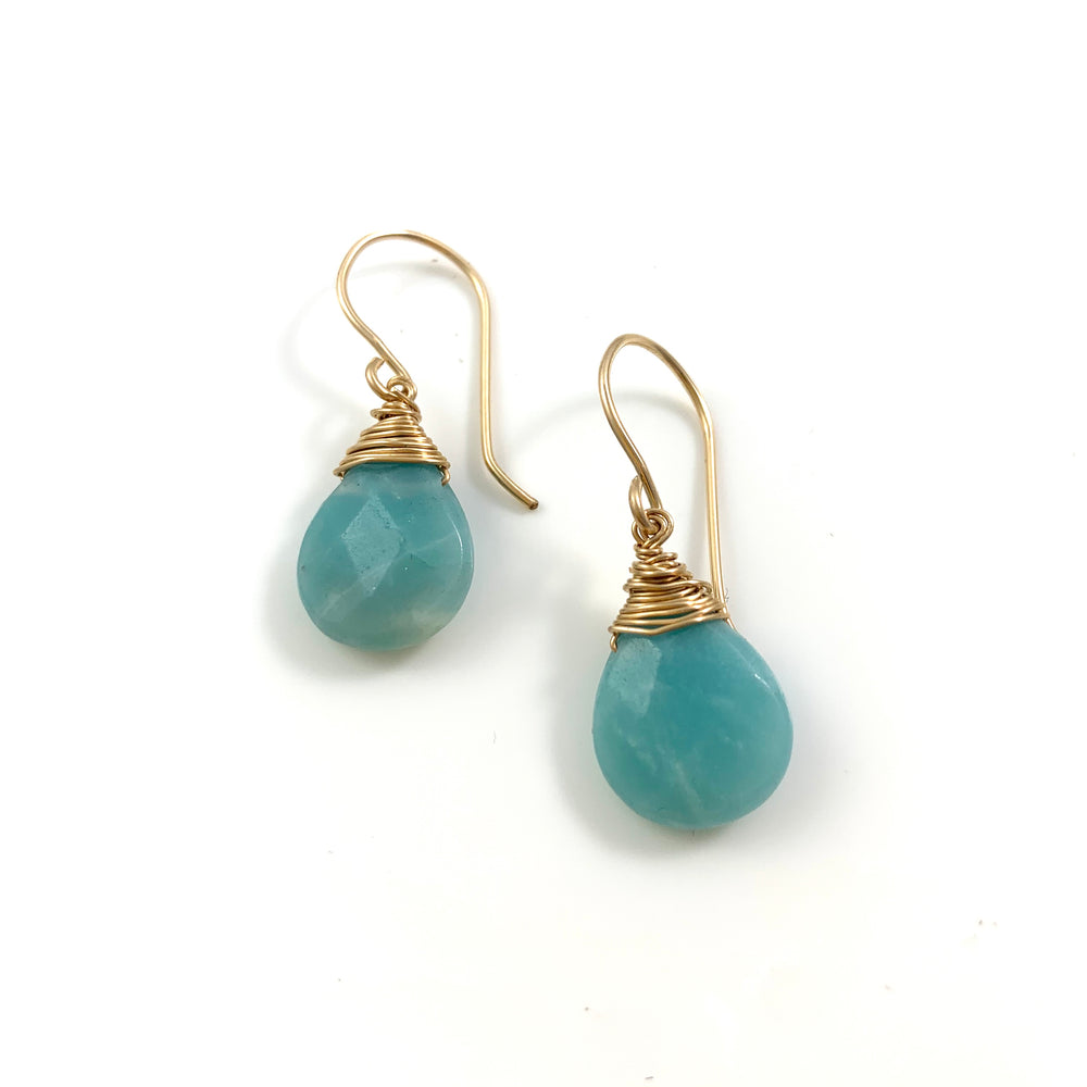 14k Gold Filled Wire Wrapped Amazonite Earrings
