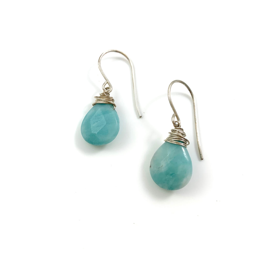 Sterling Silver Wire Wrapped Amazonite Earrings