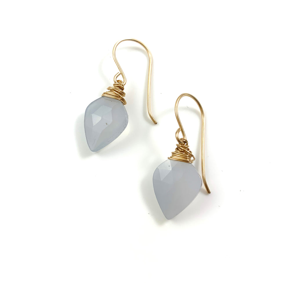 14k Gold Filled Blue Chalcedony Arrowhead Earrings