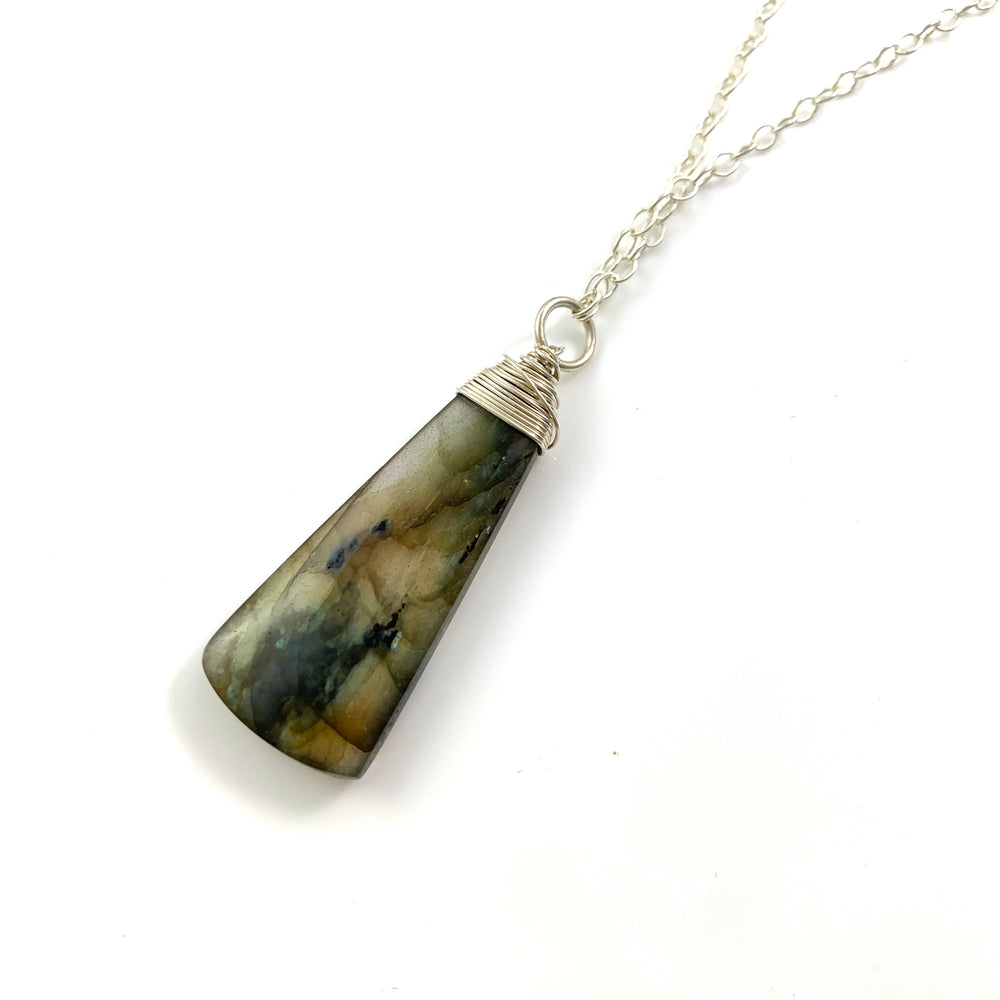 Labradorite Triangle Pendant Necklace