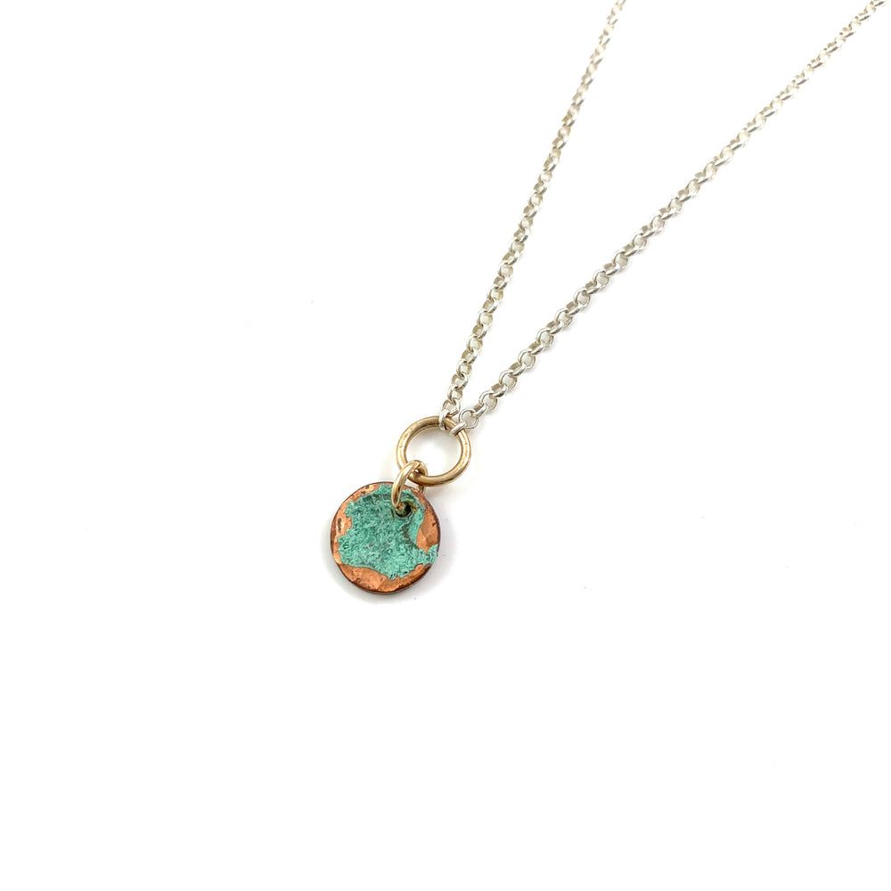 Green Patina Copper Disc Reversible Necklace