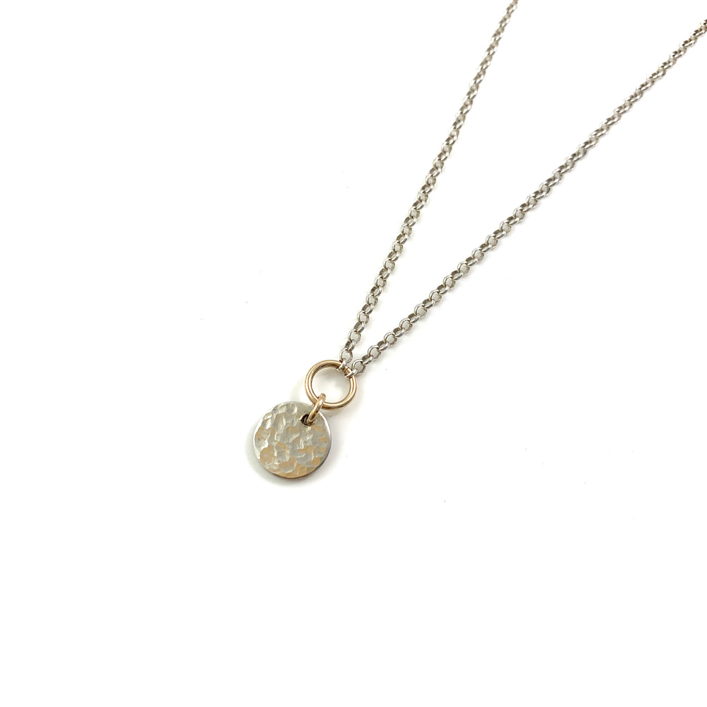 Hammered Sterling Silver Disc Reversible Necklace
