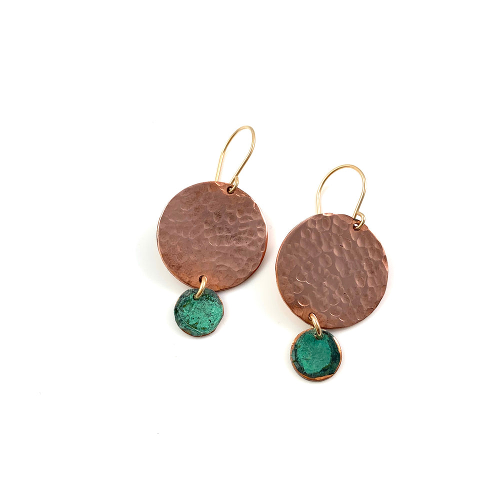 Large Copper Disc with Mini Green Patina Disc Earrings